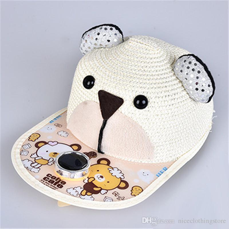 2017 Summer Kids Solar Power Fan Straw Baseball Cap Cartoon Face And Ears Hat Flat Animal Printing Brim Caps Sun Protection Hats