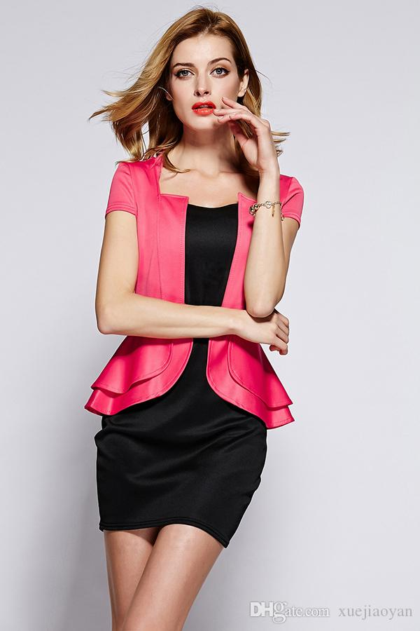 Hot Sale Wholesale Womans Clothes 2017 New Arrivals Office Ladies Work Dresses Pink Mini Dress for Women Career Outfit