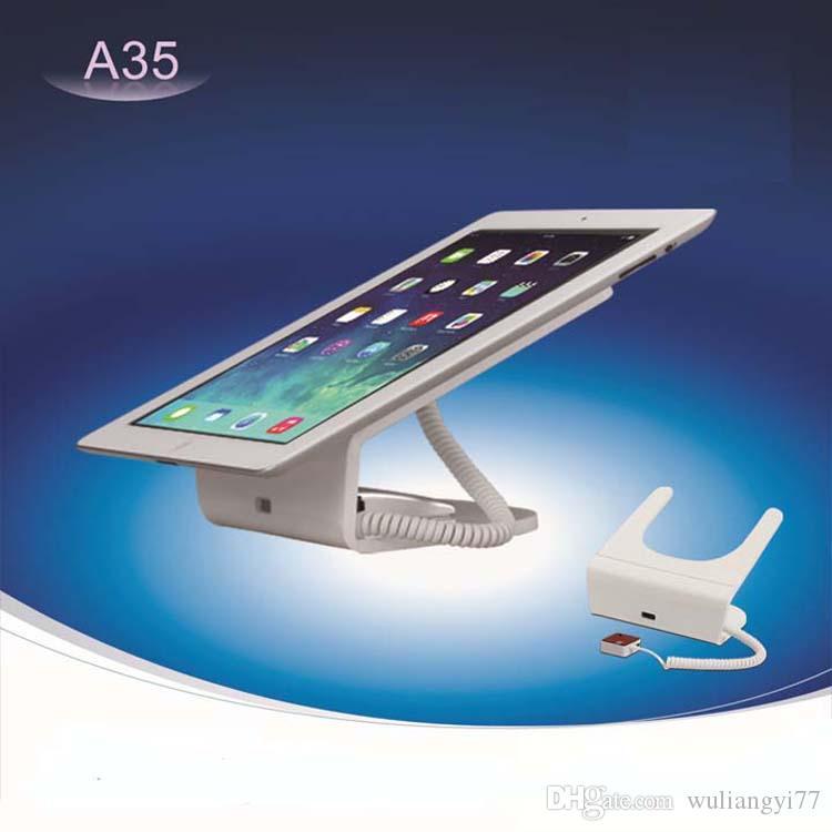 Toptan yeni tasarım cep telefonu güvenlik ekran standı Smartphone ve Tablet için Beyaz ABS malzemeler alarm tutucular