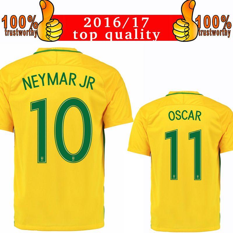 2017 2016 brazil home yellow soccer jersey 2016 neymar jr oscar - Yellow Home 2016