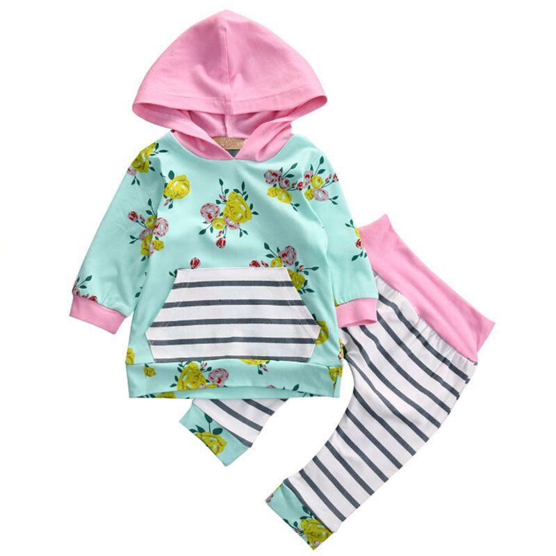 Jesień Noworodka Zestaw Niemowląt Ubrania Dziecko Zestaw Lekkie Zielone Kwiat Z Kapturem Topy + Spodnie Dwa Kawałki Dzieci Odzież Dziecko Ustawia Odzież dziecięca