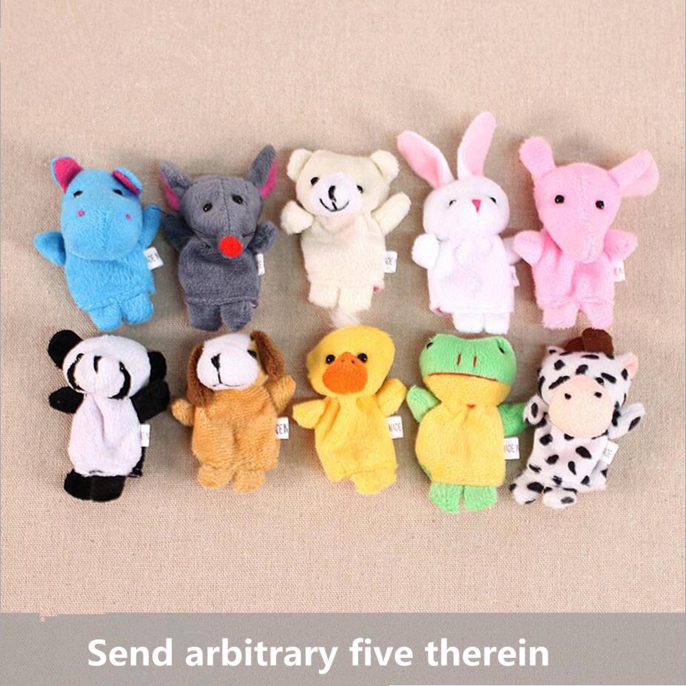 5 Шт. / Лот Симпатичные животные Собака кролик панда утка мышь Палец Куклы 0-2 лет история ребенка персонажи куклы Красочные игрушки, чтобы умиротворить