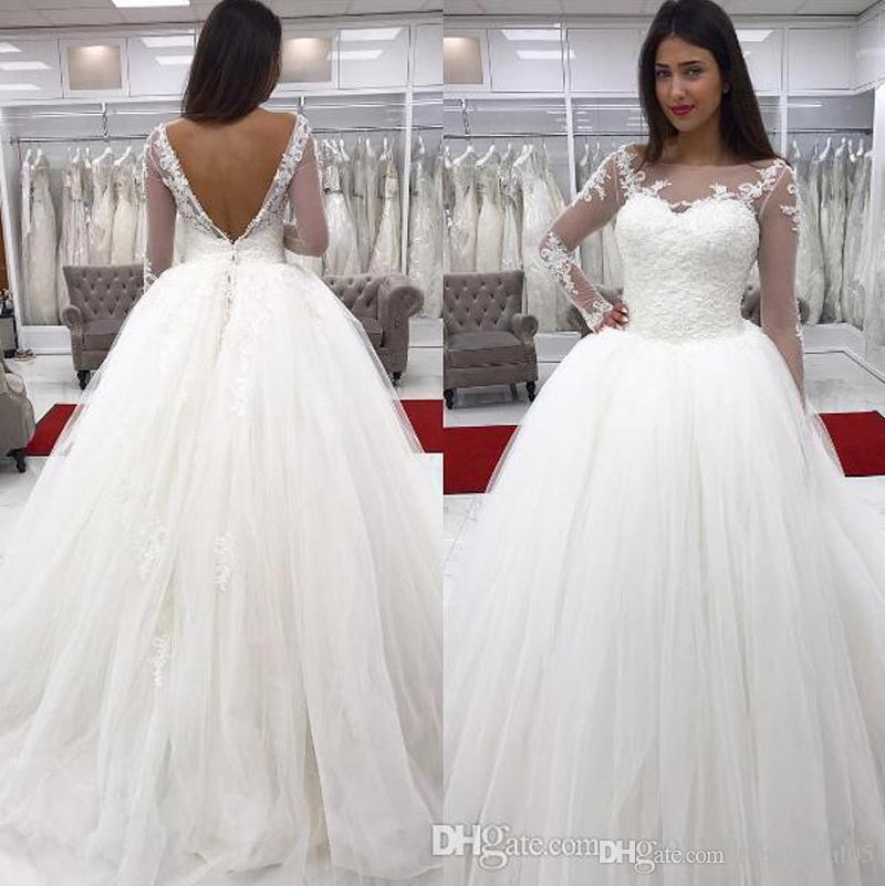 Puffy Long Sleeve Wedding Gown Ball Boat Neck Lace And Tulle Vestido De Casamento Romantic Country Style Dress Bridal Dresses