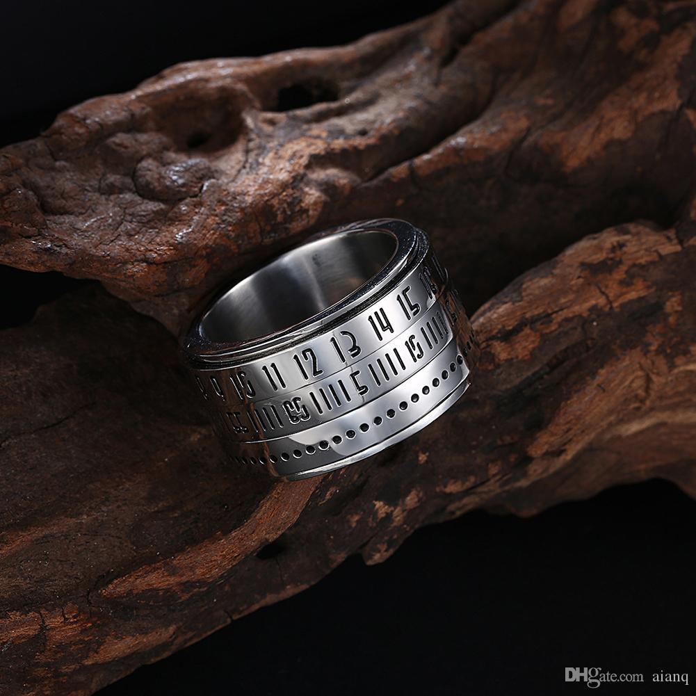 Панк стиль личности мужская нержавеющая сталь кольцо может превратить Римский цифровой пароль кольцо серебряные кольца для мужчин партии ювелирных изделий