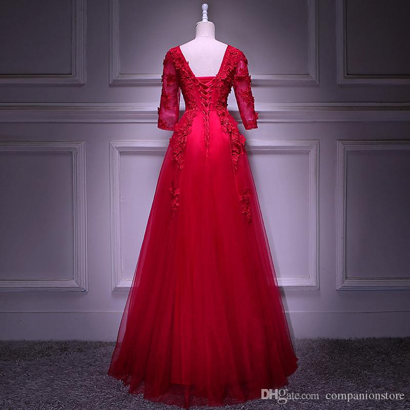 In Stock Red Tulle With Appliques Beaded Scoop Neck Transparent Half Sleeve Backless Lace Up Floor Length Ball Gown Plus Size Prom Dress