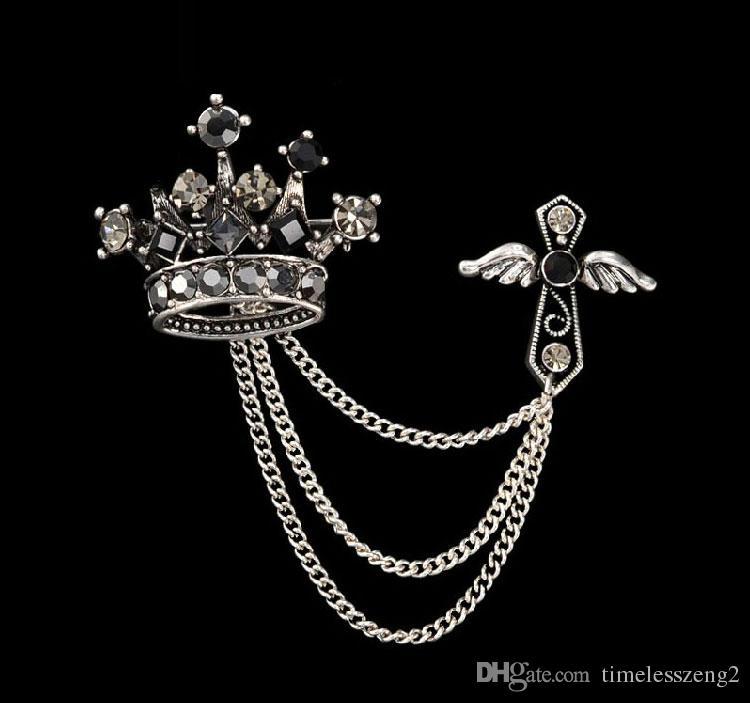 Europa e Stati Uniti restaurano antichi modi di spilla a croce con corona di alta qualità Spilla a forma di spilla Spille con diamanti sintetici