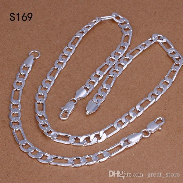 Hot mesmo preço conjuntos de jóias de prata esterlina, moda barata 925 colar de prata Pulseira conjunto de jóias GTS3 venda direta da fábrica