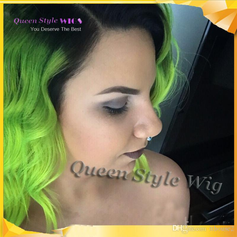 New Stylish Black Root to Bright Grass Green Color Hair Lace Front Wig, Short Bob Head Lace Front Wig for Black or White Women