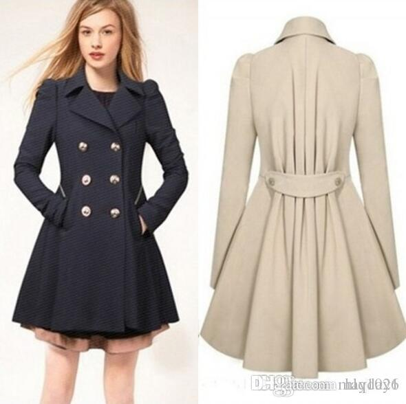 d07ed0618de 2016 New Women Trench Coat Autumn Spring Slim Overcoat Female Winter Coats  Long Outerwear Free Shipping