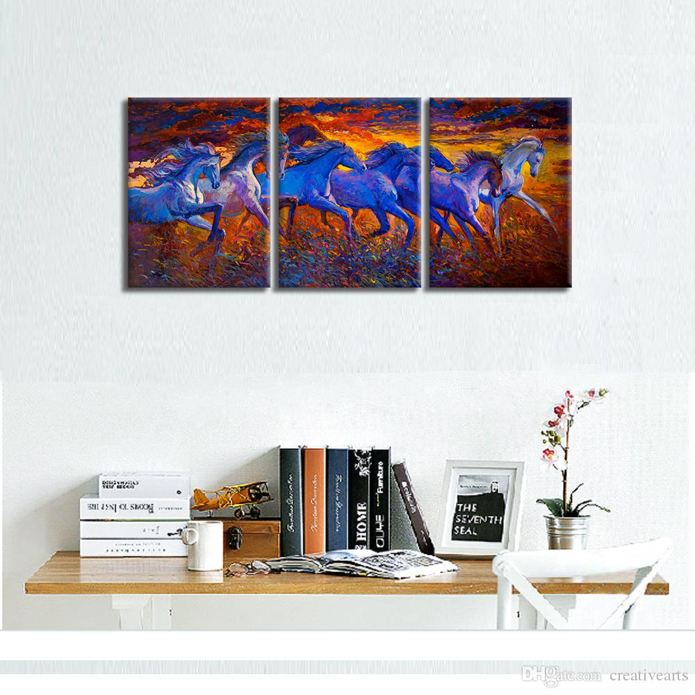 A Portrait of Eight Breed Canvas Oil Painting Prints Running Horse Giclee Art Home Wall Decoration Unframed30cmx40cmx