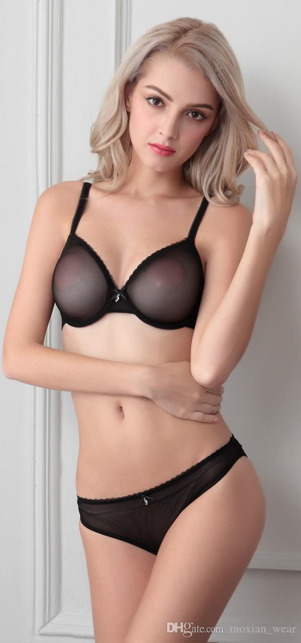 56eda134a8 2019 MOXIAN  Sexy Bra Sets Charming Ultra Thin Lace Underwear Transparent  Mesh With Steel Ring Bra Set B C D TZ45A47055D From Moxian wear