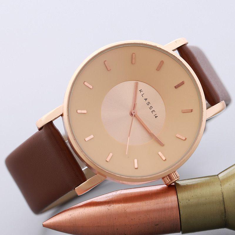 2017 Luxury Brand KLASSE14 Мода Повседневная Кожаные Часы Женщины мужчины Бизнес Часы