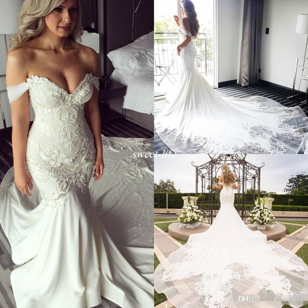 New Design Off Shoulder Mermaid Wedding Dresses Pearls Backless 2017 Trumpet Chapel Train Lace Bridal Gowns Vintage Plus Size Custom Pink: Gold Sweet Mermaid Wedding Dresses At Reisefeber.org