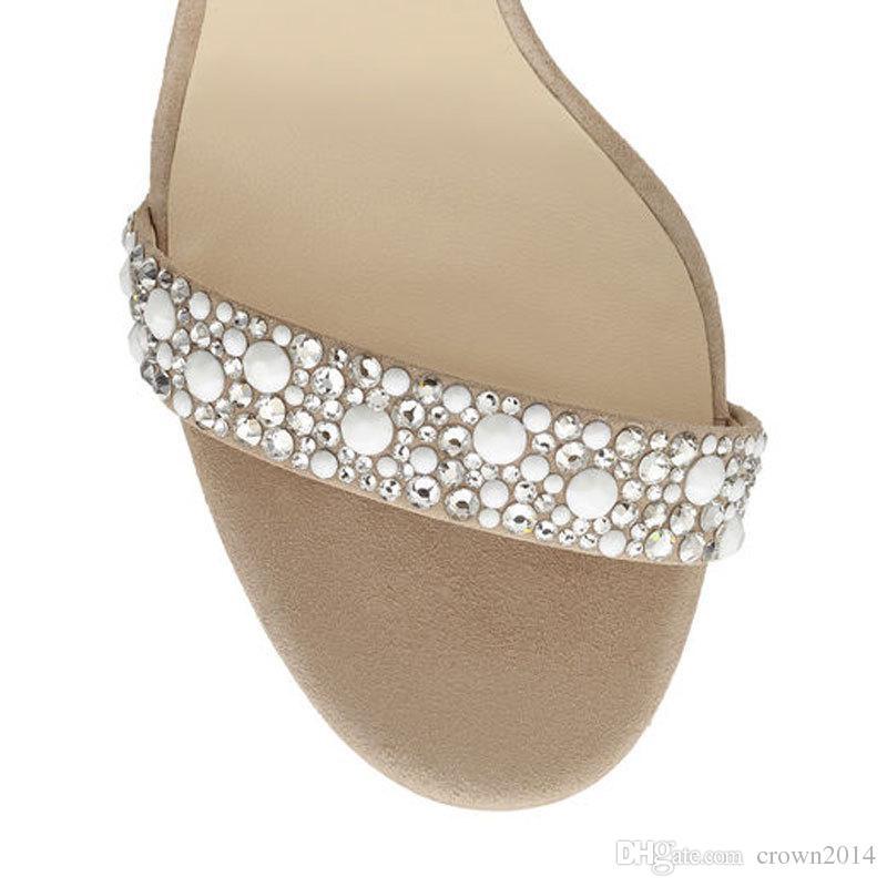 2020 Plume Mode Chaussures de mariage 4 pouces talon haut cristaux strass chaussures de mariée avec des chaussures Zipper Party Sandales pour les femmes Taille US4-11