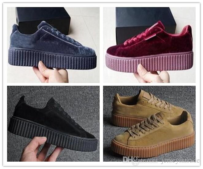 new styles cba01 f91c5 2017 New Velvet Rihanna x Suede Creepers Rihanna Creeper Running Shoes Grey  Red Black Women Men Fashion cheap Casual Shoes sneakers