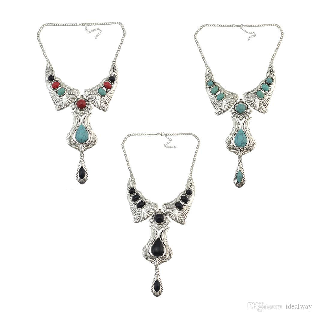 idealway 3 Colors Bohemian Vintage Silver Plated Carving Flower Metal Turquoise Stone Pendant Necklace