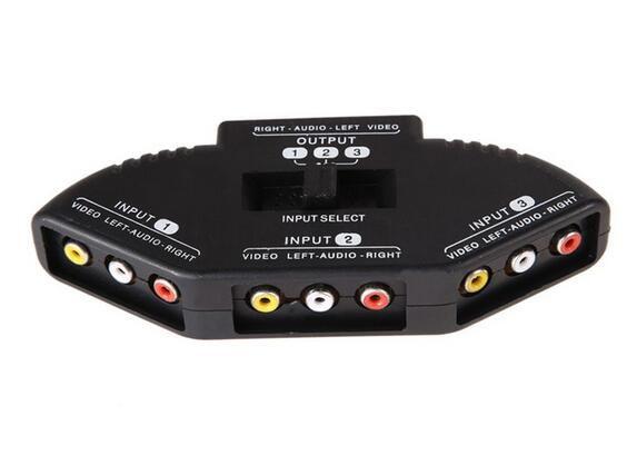 New High Quality Selector 3 Ports Video Switcher Game AV Signal Switch Cable AV RCA AV Splitter Audio Converter for XBOX for PS TV