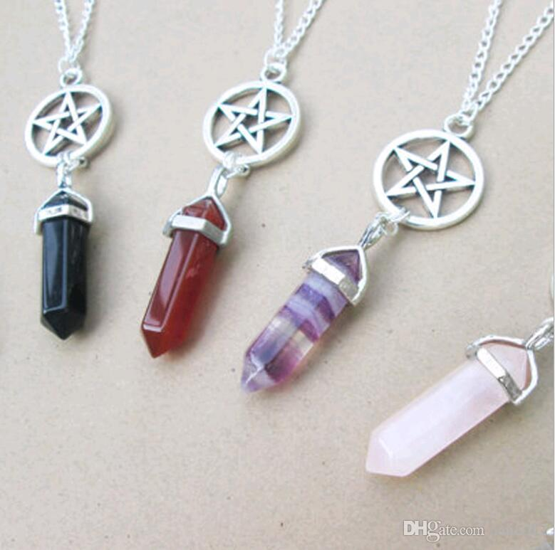 Wholesale Natural Agate Crystal Hexagonal Column Pointed Star Reiki Chakra Pendant Necklace for Women Free shipping