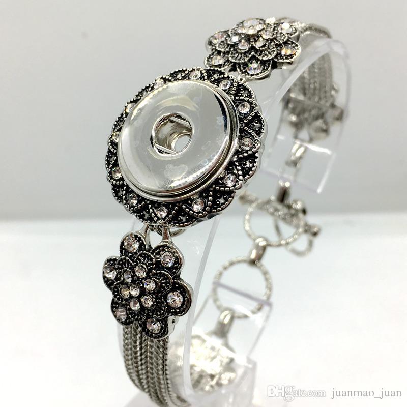 Heißer Verkauf 5 stücke Viele Ingwer Snap Silber Charme Armband Für Frauen Fit 18mm Snaps Chram Diy Snap schmuck