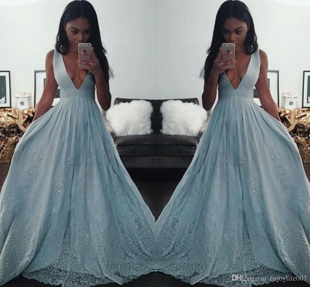 Light Blue Black Girl Prom Dresses 2017 Deep V Neck A Line Evening