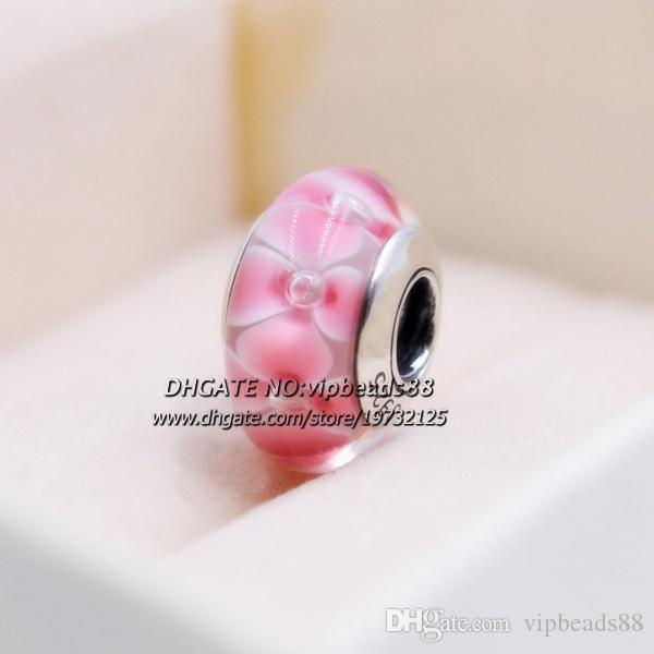 S925 gioielli moda in argento sterling fiori rosa charms in vetro di murano perline misura europea braccialetti fai da te pandora collana 193