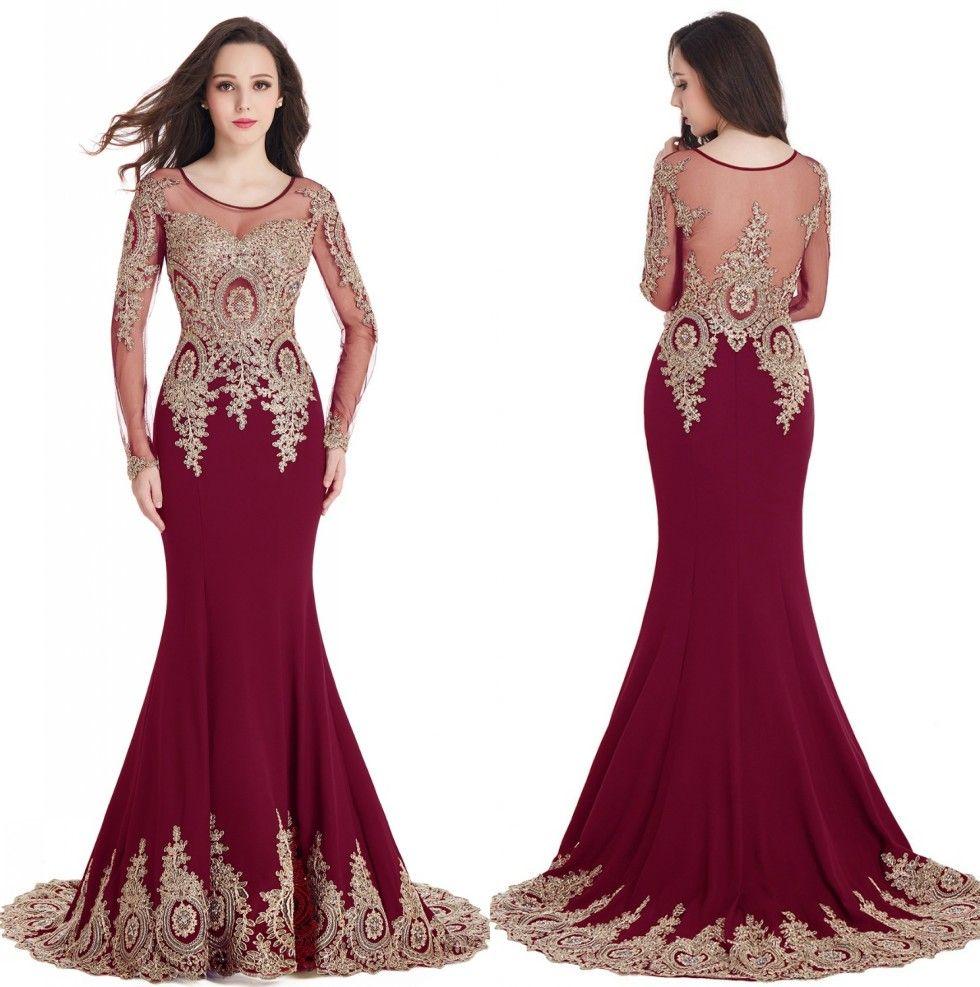 Burgundy Long Sleeve Mother of the Bride Dresses Scoop Sheer ...