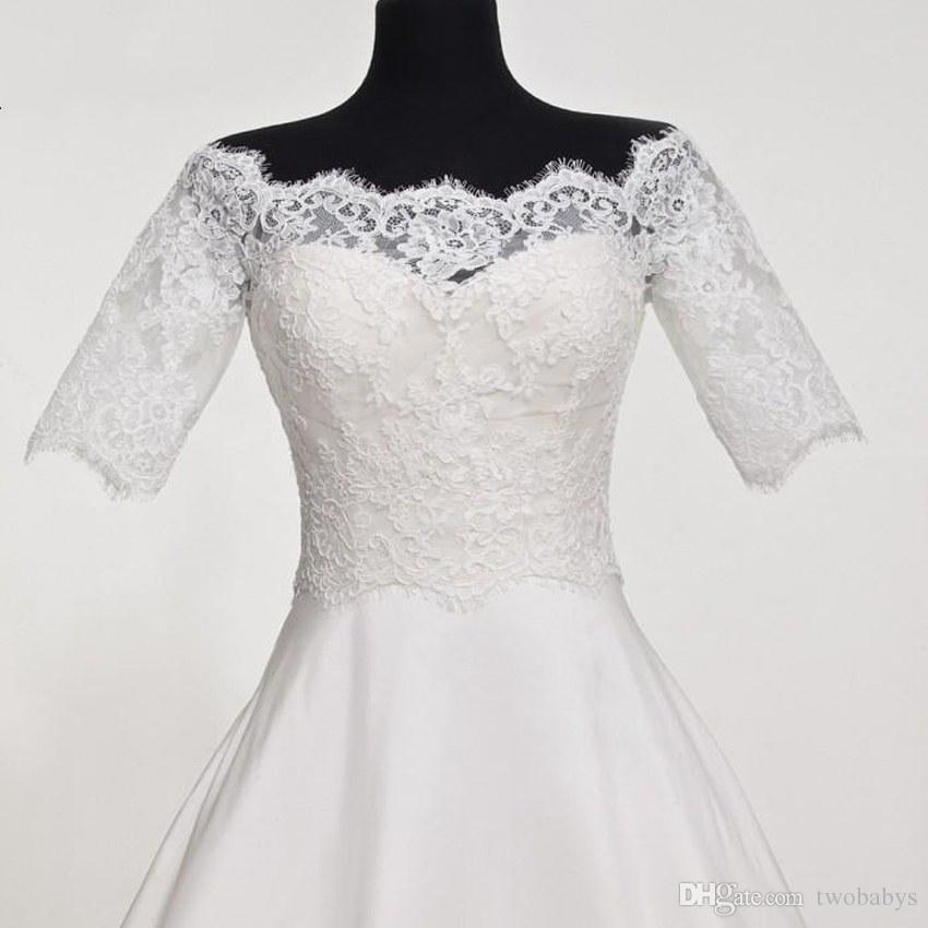 Custom Made White Ivory Bridal Wraps Jacket Bolero Bride Shawl Half Sleeve Lace Wedding Accessories Wedding Jacket Wrap 2017