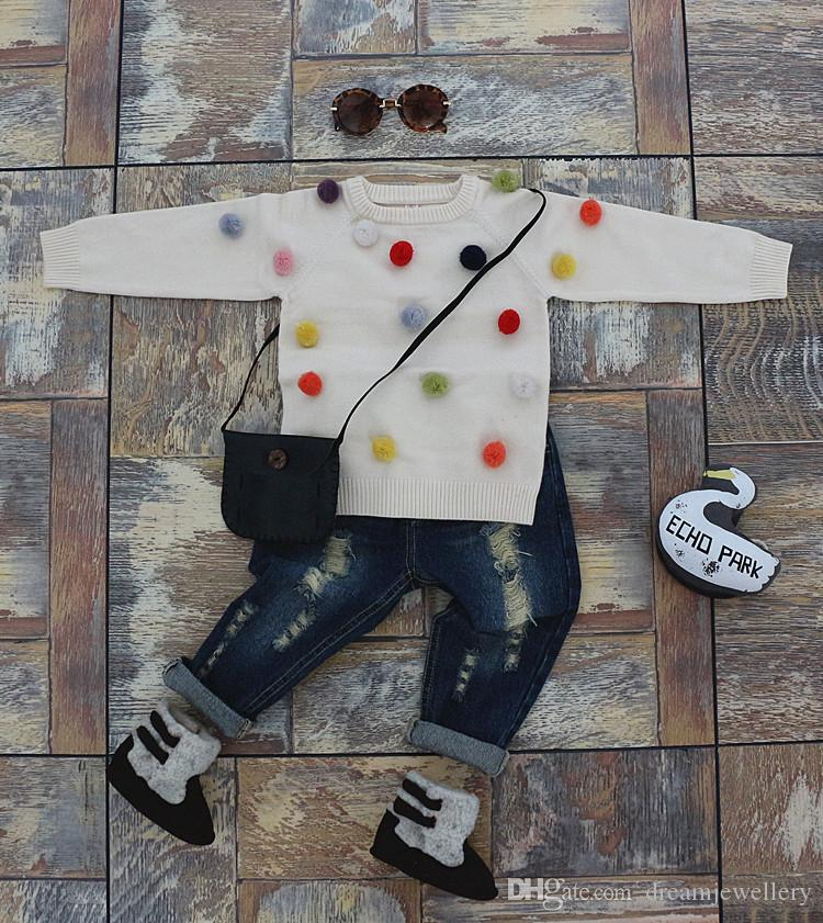 2016 Autumn Spring Solid Baby Girl Sweater Colors Ball ...