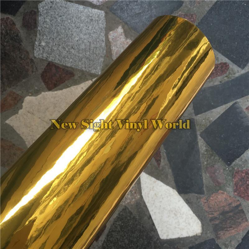 Hohe Qualität Einfache Dehnbarkeit Flexible Chrome Gold Wrap Vinylfolie Für Car Wrap Luftfreie Blase