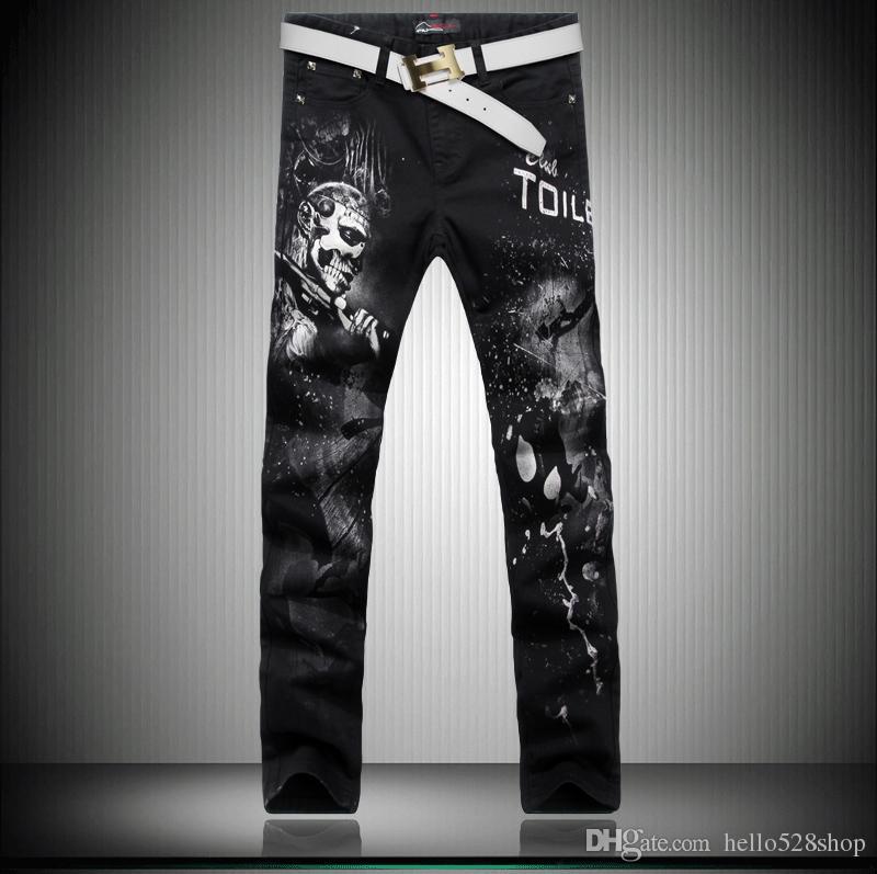 Personality Design Calças de impressão retrato dos homens coreanos jeans Skinny Pants Jeans COOL