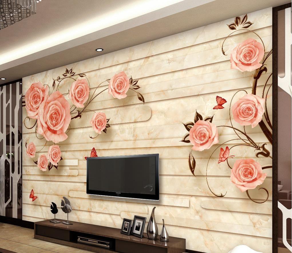 European Marble Tiles Embossed Tv Background Wall Rose Mural 3d