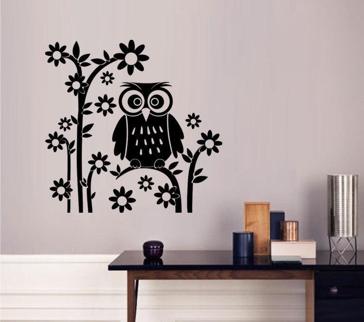 AW9087 DIY Owl Cartoon Wall Stickers Removable Art Vinyl Decal Kids Nursery Room Home Decor