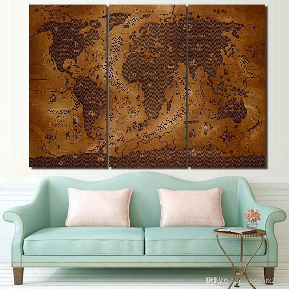 3 Pcs/Set Framed HD Printed Vintage World Map Poster Wall Art Canvas Pictures For Living Room Bedroom Home Decor Canvas Painting