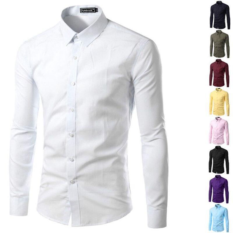 2029011c1 Brand New Mens Shirt Long Sleeve Slim Fit Clothing Solid Man Dress ...