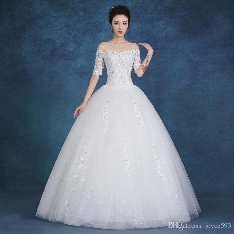 Simple And Elegant Wedding Dresses Boat Neck Three Quarter: 2017 New Design Boat Neck Half Sleeve Bridal Dress Lace