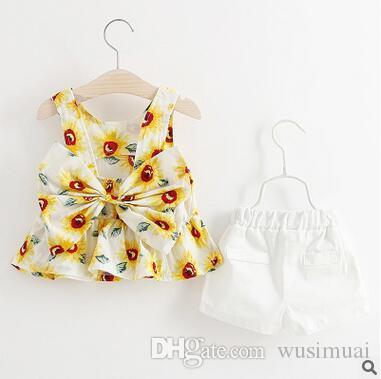 Summer wear girls two-piece fashion floral printing short sleeves cotton bowknot suit kids Children's clothing sets baby Girl's blouse