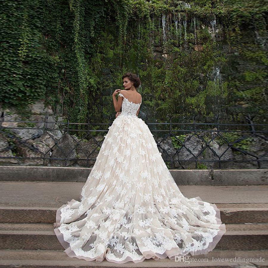 2018 Lebanon Champagne Ball Gown Wedding Dresses Sheer Jewel Neck Short Sleeve Off Shoulder Arab/Turkey Bridal Gown Custom Made