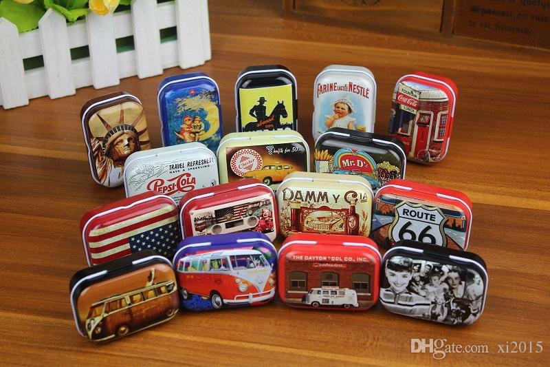Zakka Storage Boxes Retro Mini Jewelry Pill Candy Organizer Favor Tin Box Metal Rectangle Collectables Tin Boxes wa3212