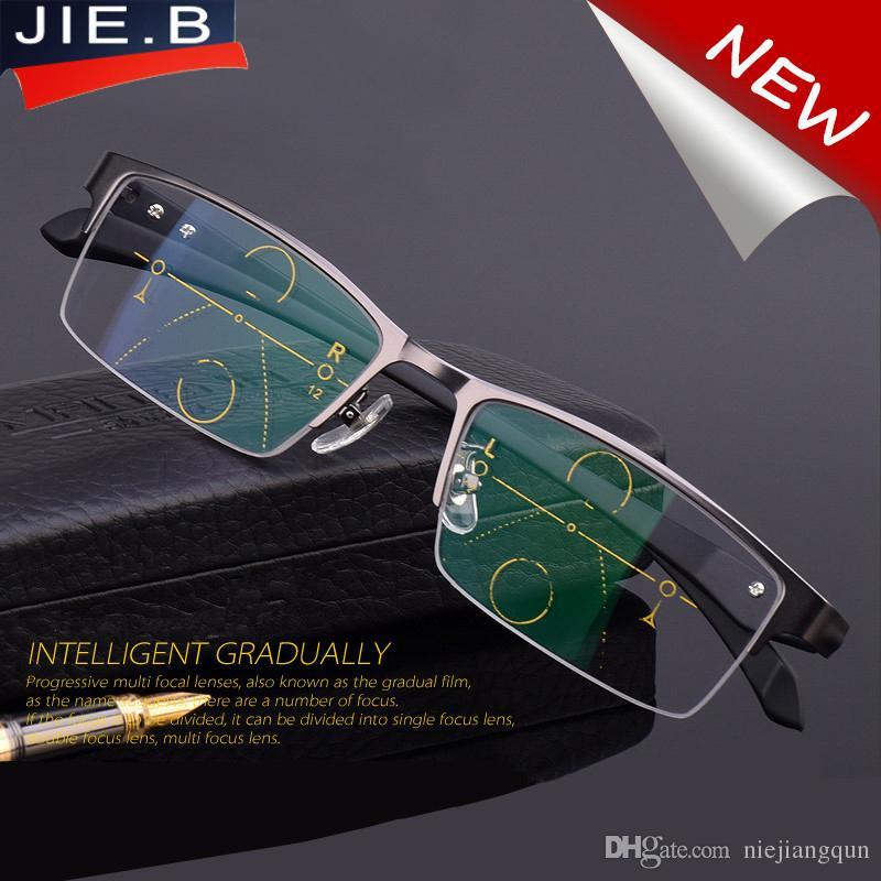 ac32c618023e 2017 Titanium Alloy Quality Multifocal Lenses Reading Glasses Men Fashion  Half Rim Progressive Glasses Square Diopter Glasses Reading Glasses Galore  Reading ...