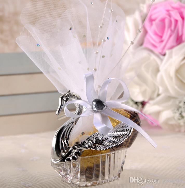 Łabędź Wedding Party Prezent Cukierki Eleganckie Favors Rocznica Uroczystości Słodkie Czekoladowe Okładki Box Dekoracja Złoto Srebro