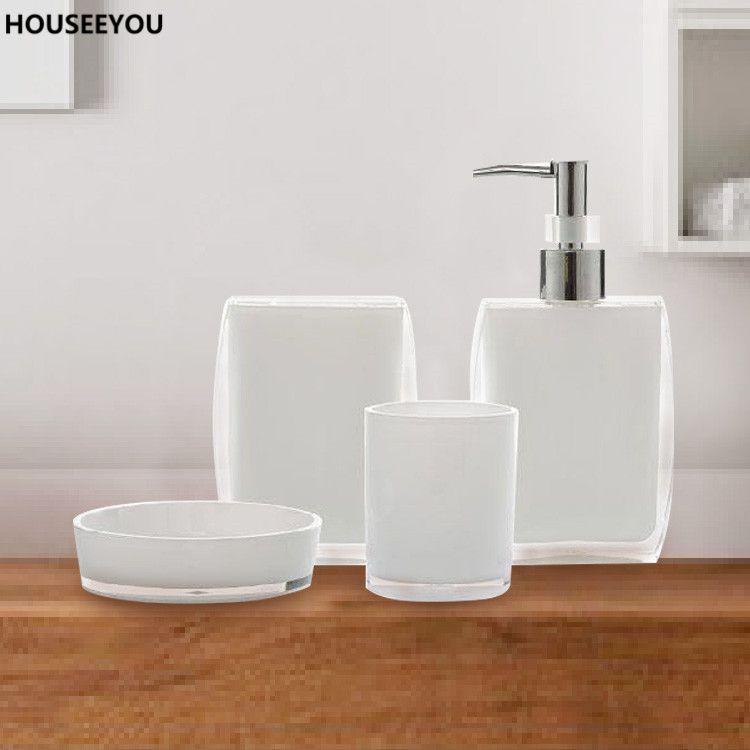 Online Cheap Bath Ensemble Bathroom Soap Dish Lotion Dispenser