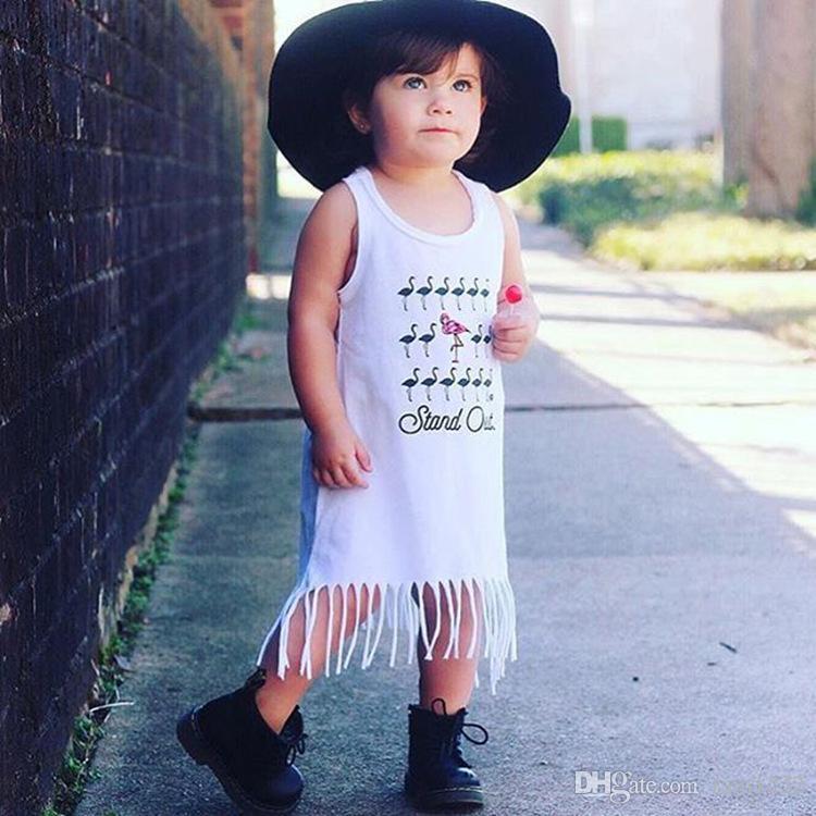 Summer Cotton Tassels Print Sleeveless Sundress Dress For Girls Baby Toddler Children Kids Shirt Dresses Jumper Skirts Pinafore Dress Wear