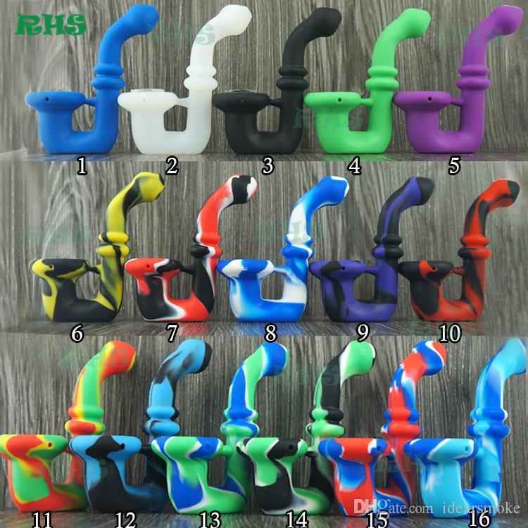 Preço de atacado Novo tubo de mão de silicone mini bong cano de água 16 cores para escolher DHL frete grátis