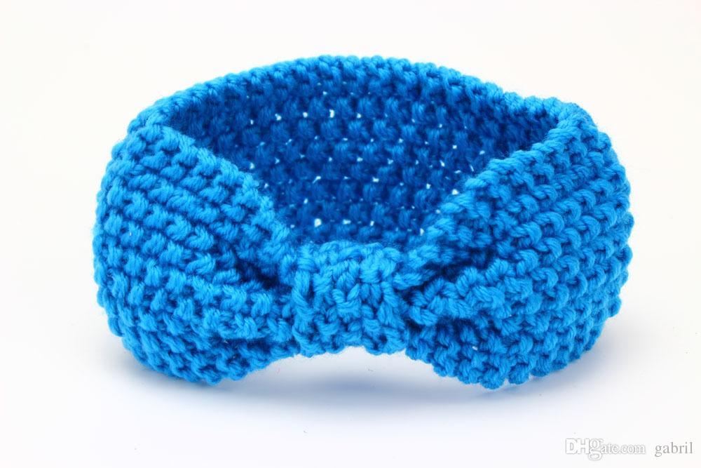 Quente Crochet atado Headband Earwarmer Knot Faixa de Cabelo Turbante malha Inverno Headband bebé de acessórios de cabelo /