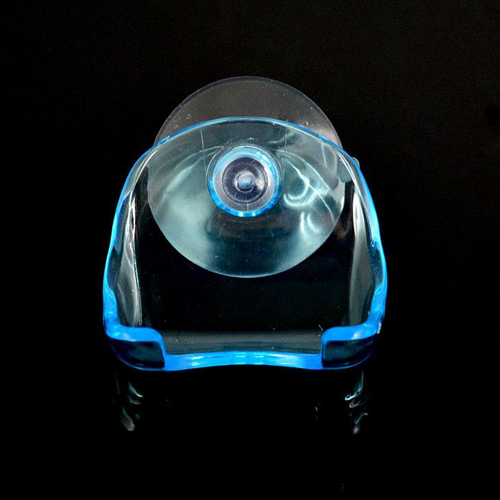 Clear Blue Plastic Super Suction Cup Razor Rack Bathroom Razor Holder Suction Cup Shaver Storage Rack Promotion