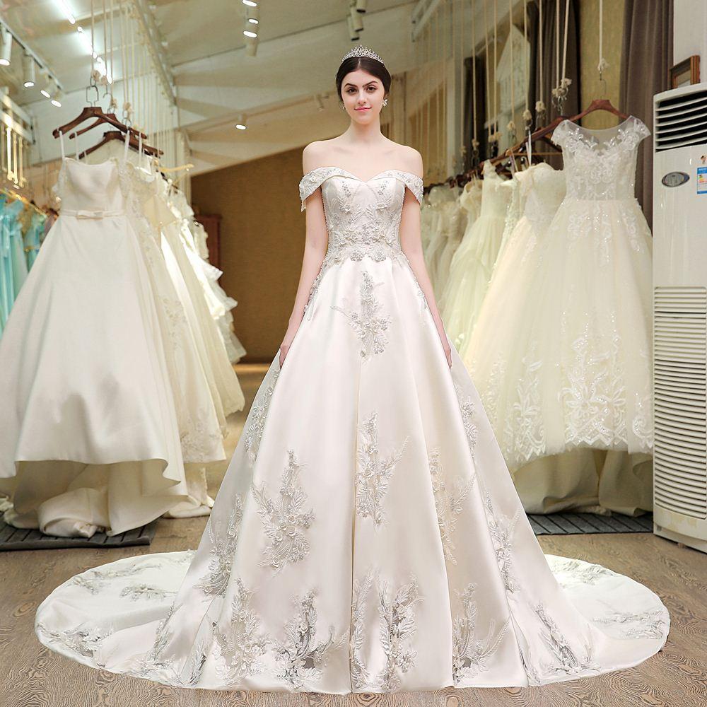 Discount dsl real photos 83 designer wedding gowns satin for Wedding dress designer m