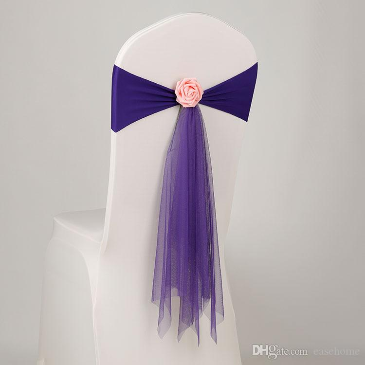 New chair covers backtrim decoration elastic ribbon with mesh artificial flowers for wedding party home decoration