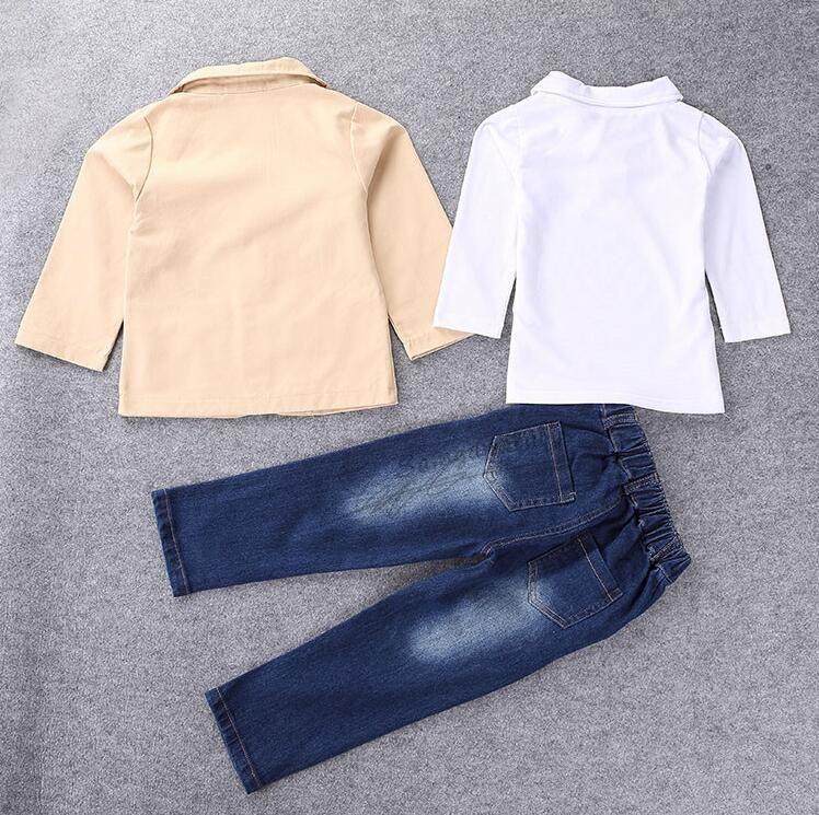 Осенняя мода 3шт комплект одежды с длинными рукавами куртка + рубашки + джинсовые брюки ребенок цветок мальчик одежда
