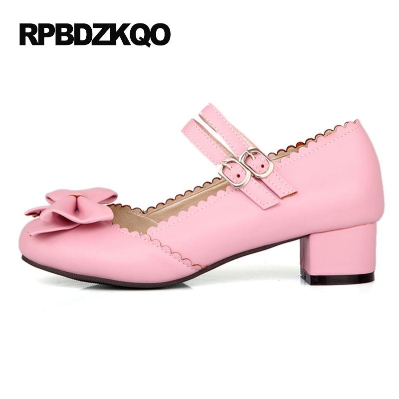Mary Janes Womens Cute Sweet Buckle Strap Med Chunky Heels Lolita Shoes Pumps US