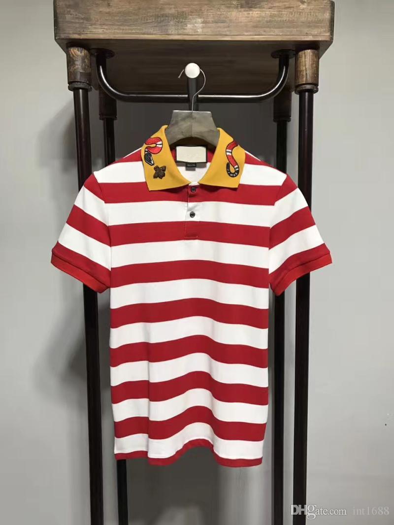 2017 الصيف جديد الرجال بولو شيرت الأفعى شريط التطريز النحل الرجال قصيرة الأكمام قميص الماركات الفانيلة قمصان رجالي قمصان بولو 3 اللون